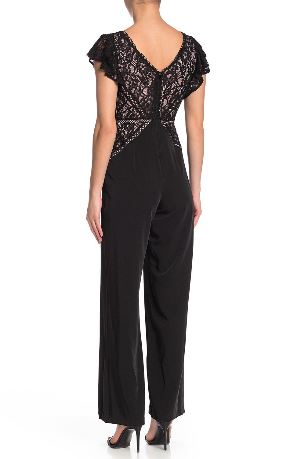 Taylor - 1443M Lace V-neck Stretch Crepe Jumpsuit In Black