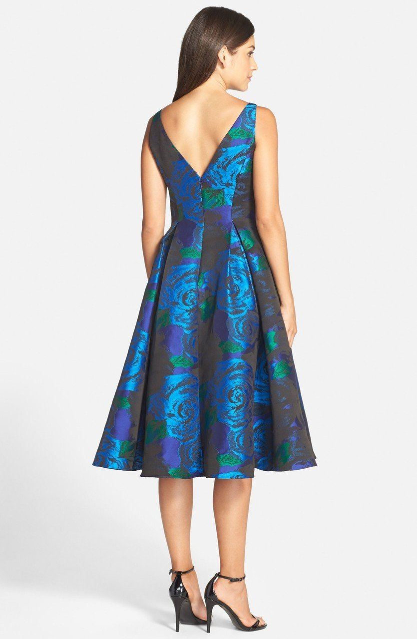 Adrianna Papell - 41889270 Tea-Length Jacquard Floral Print Dress in Blue and Green
