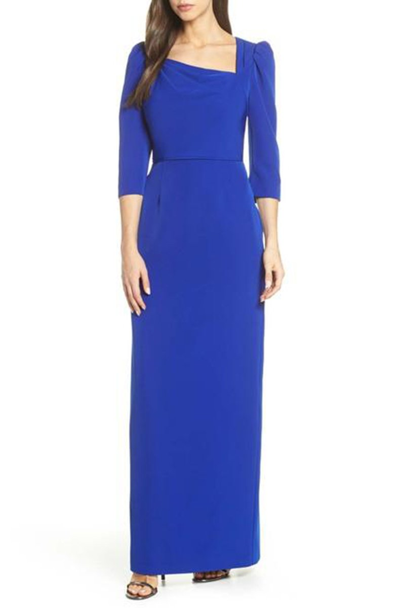 Adrianna Papell - AP1E205893 Asymmetric Neck Crepe Column Dress In Blue