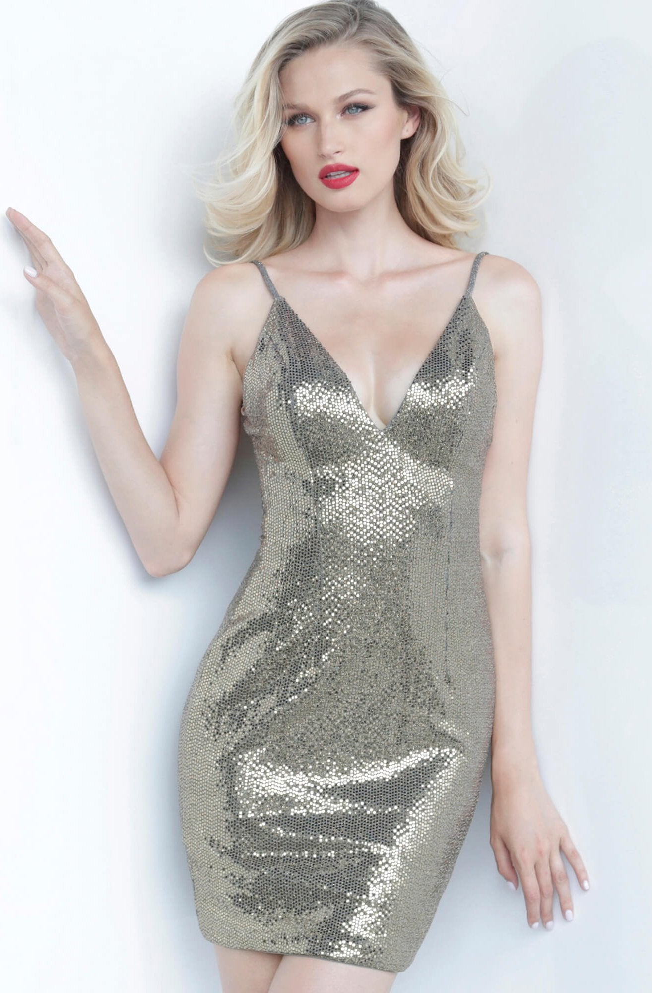 Jovani - 1094 Backless Sleeveless V Neck Cocktail Dress In Silver and Gold