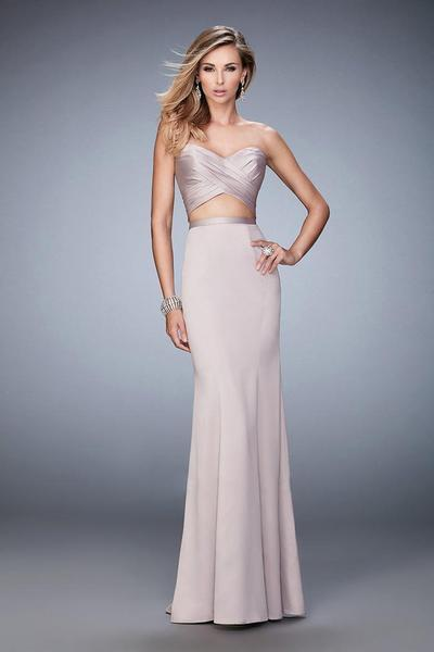 La Femme - Two Piece Embellished Sweetheart Sheath Dress 22207 In Neutral