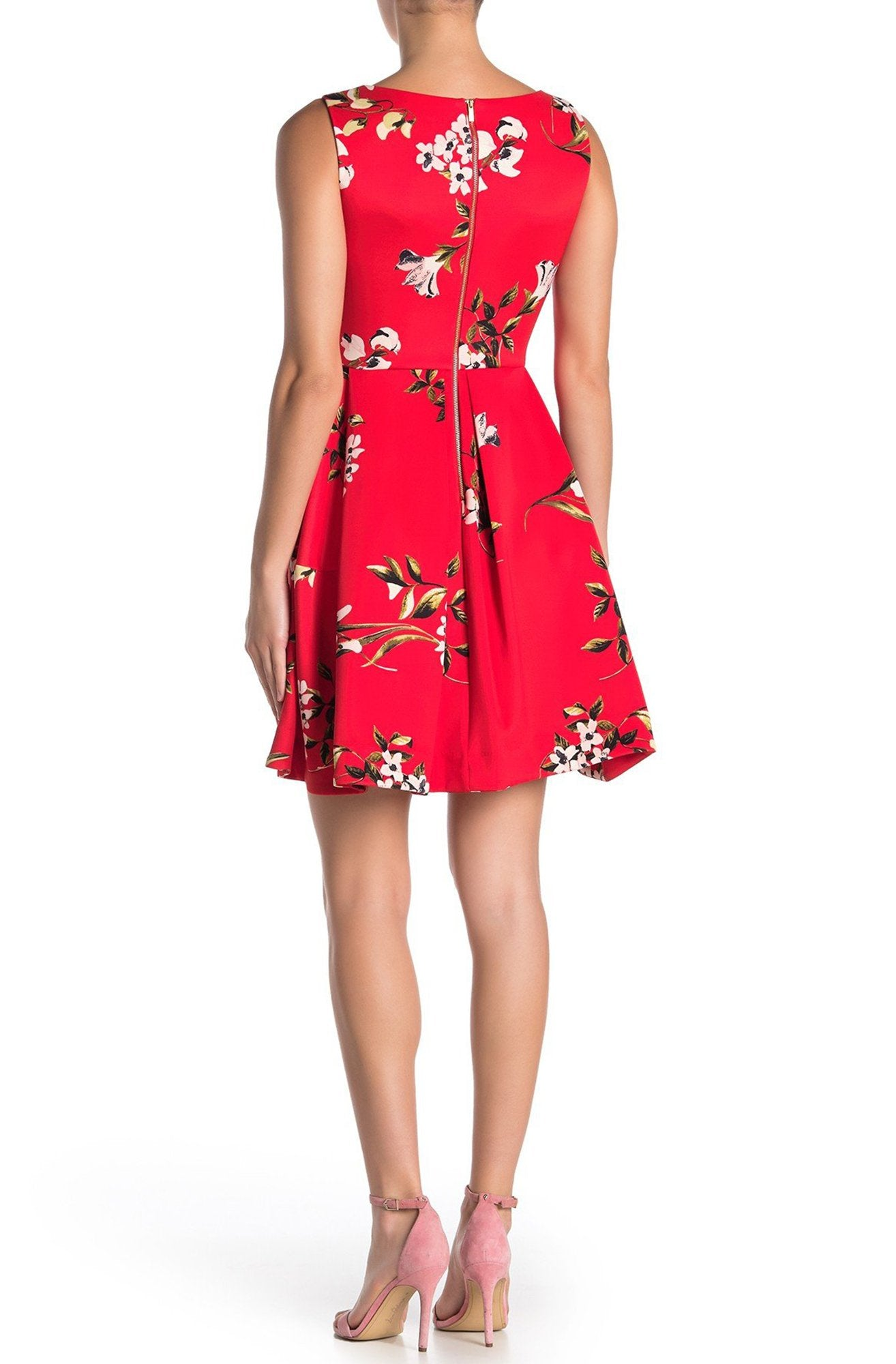 Taylor - 1534M Short Bateau Neck Floral A-Line Dress In Red and Floral