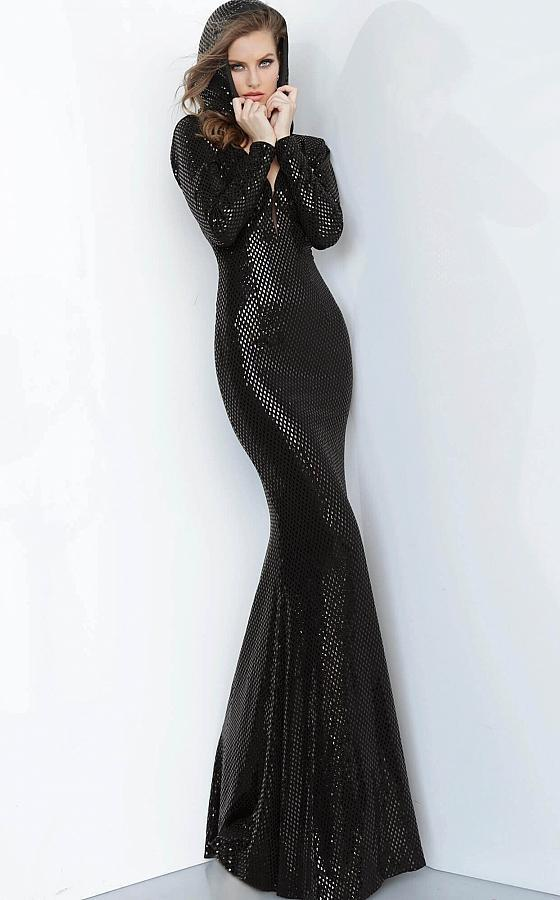 Jovani - 1107 Embellished Hood Long Sleeve Deep V-neck Trumpet Dress In Black
