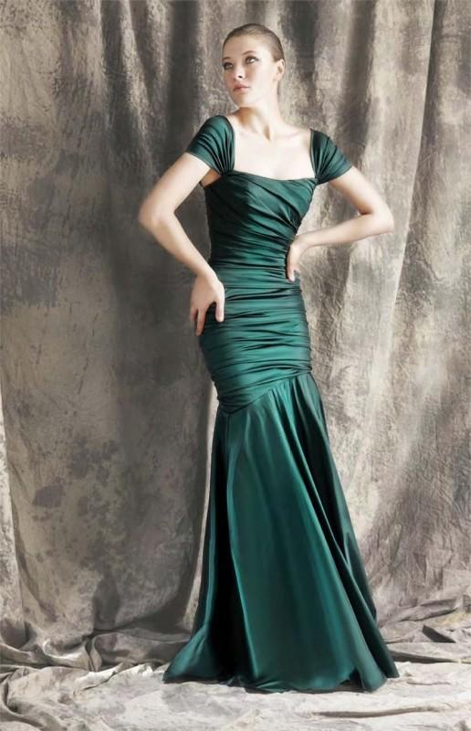 Theia - Ruched Mermaid Gown 881422 in Green