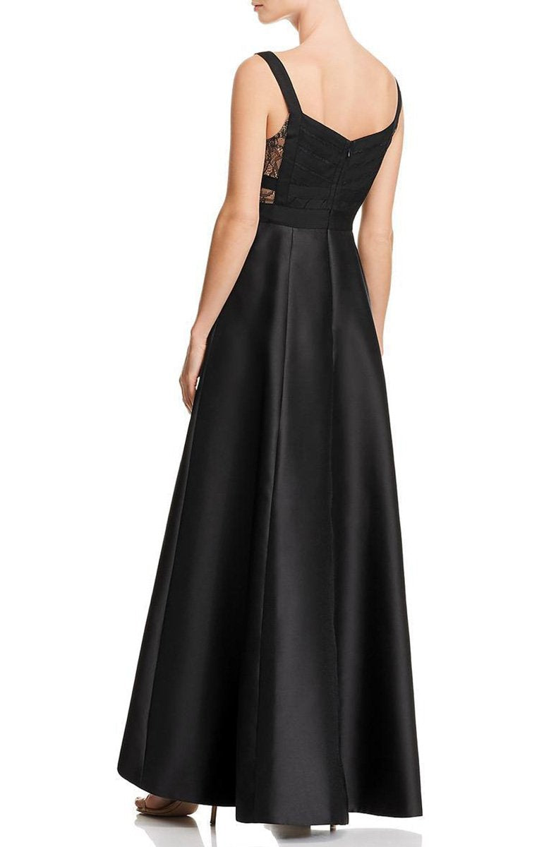 Adrianna Papell - AP1E203192 Wide V-Neck Pleated A-Line High Low Dress In Black