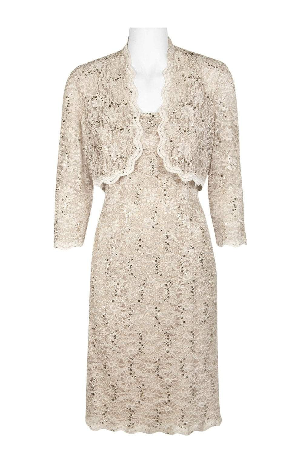 Alex Evenings - 1122090 Allover Lace Sequin Dress with Bolero in Gray