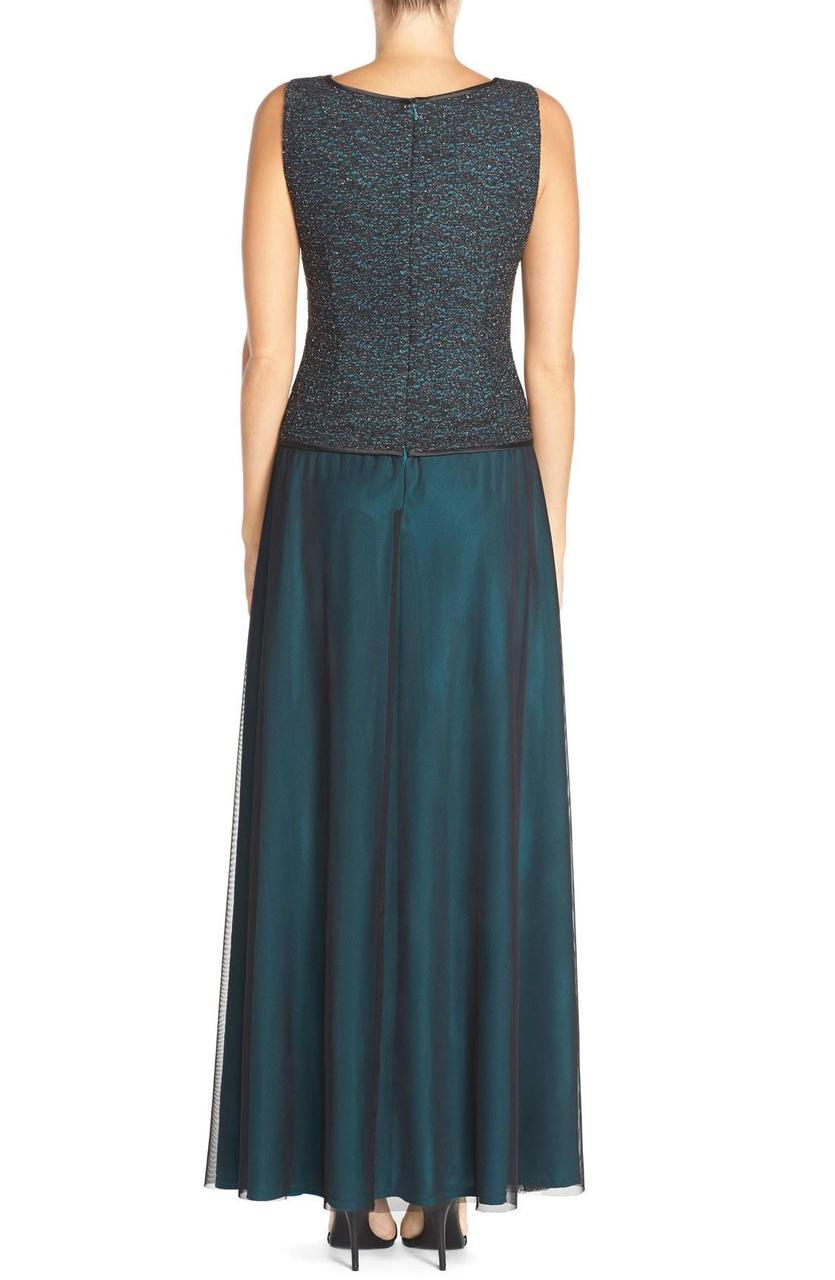 Alex Evenings - Two Piece Square Neck Jersey A-line Dress 117224 in Black and Green