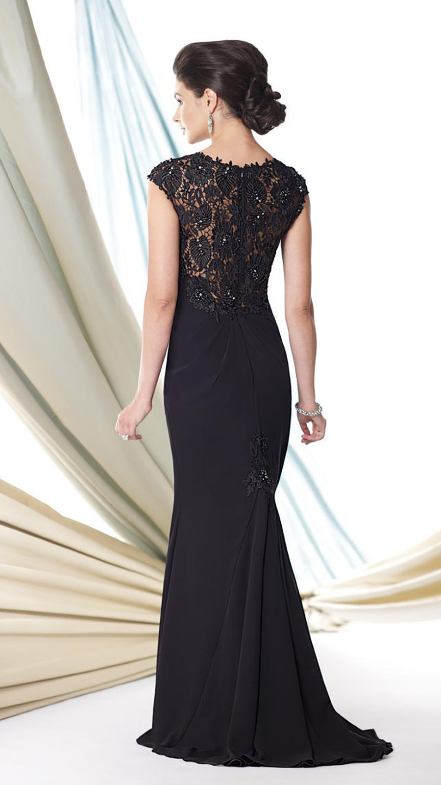 Montage by Mon Cheri - 114926SC Cap Sleeve Drape Ornate Sheath Dress
