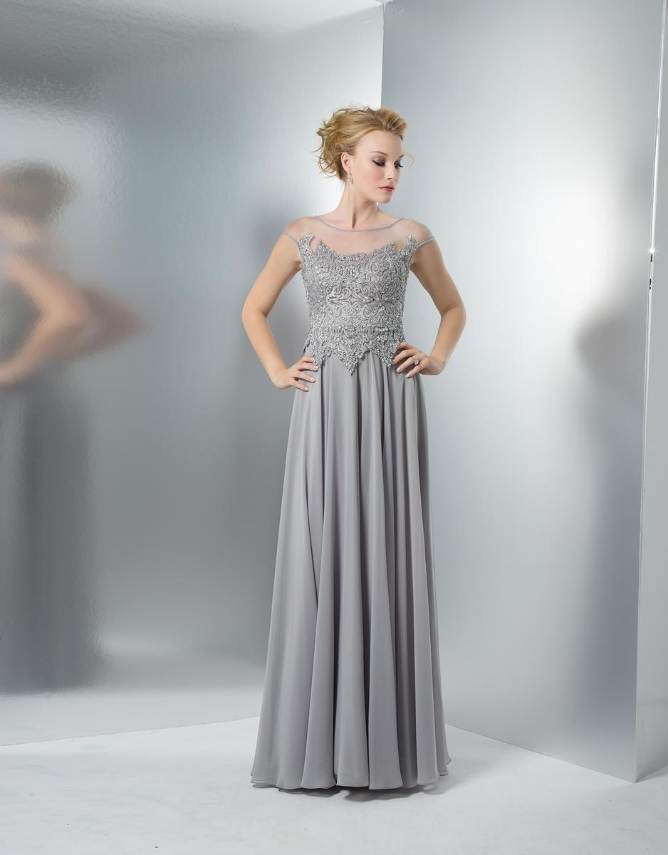 Marsoni by Colors - M107 Embroidered Illusion Silk Gown Special Occasion Dress 2 / Grey