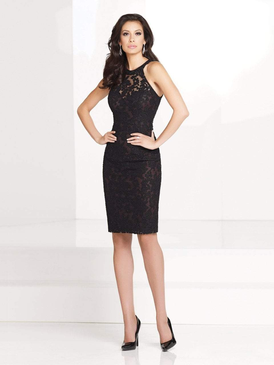 Social Occasions by Mon Cheri - Halter Neck Cocktail Dress with Beaded Colla in Black
