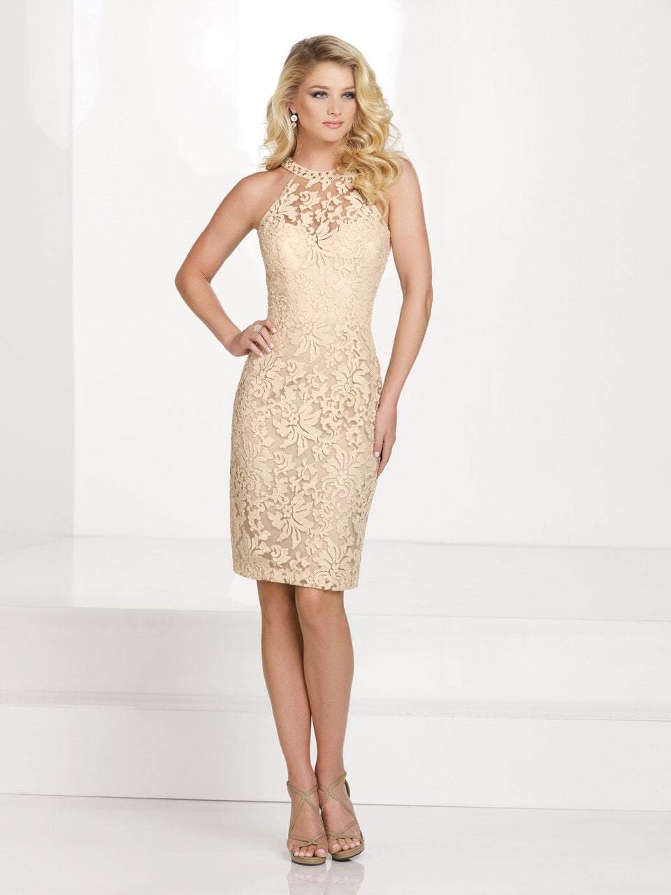 Social Occasions by Mon Cheri - Halter Neck Cocktail Dress with Beaded Colla in Neutral