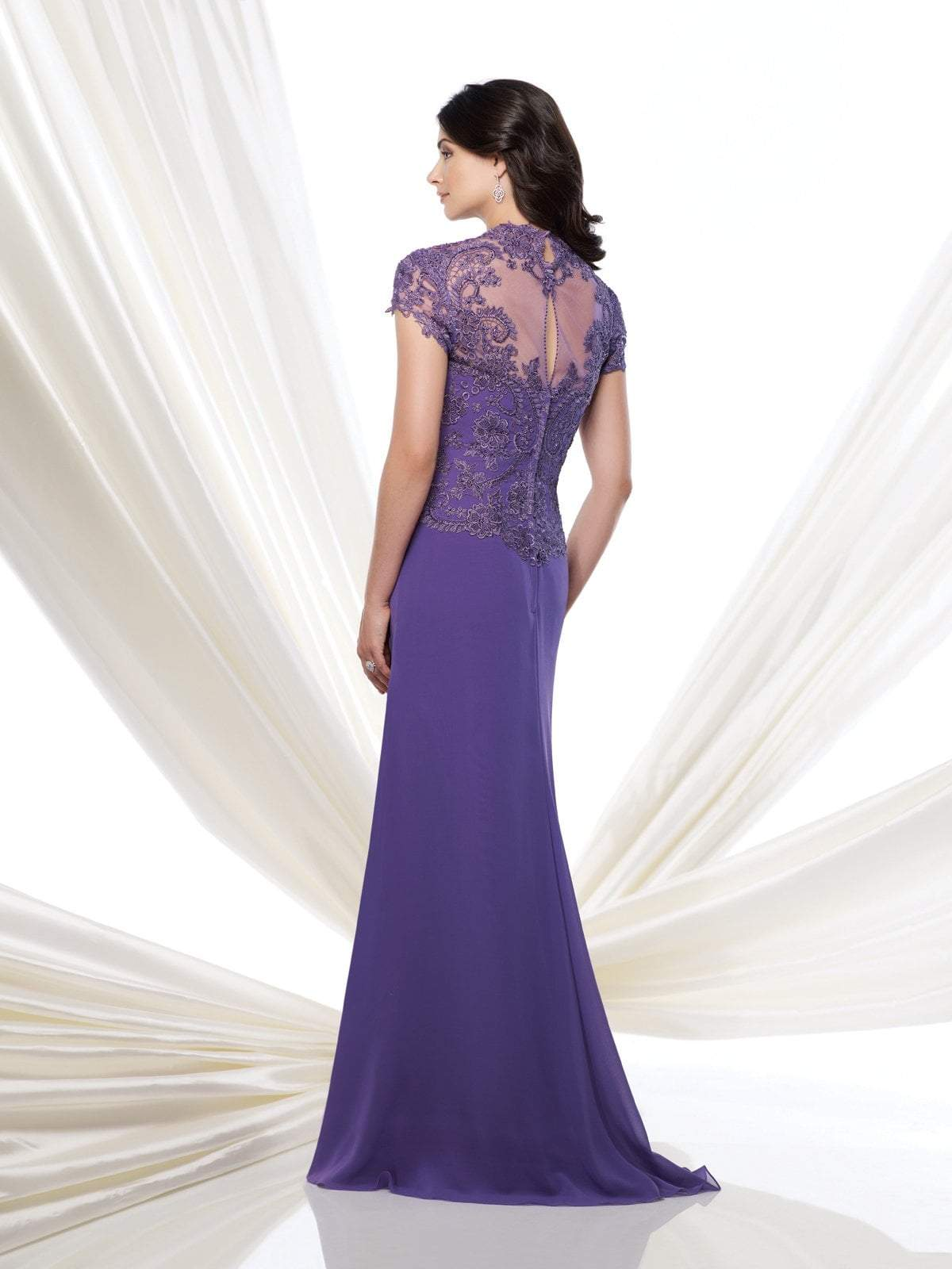 Mon Cheri - 115974SC Beaded Lace Queen Anne Evening Dress