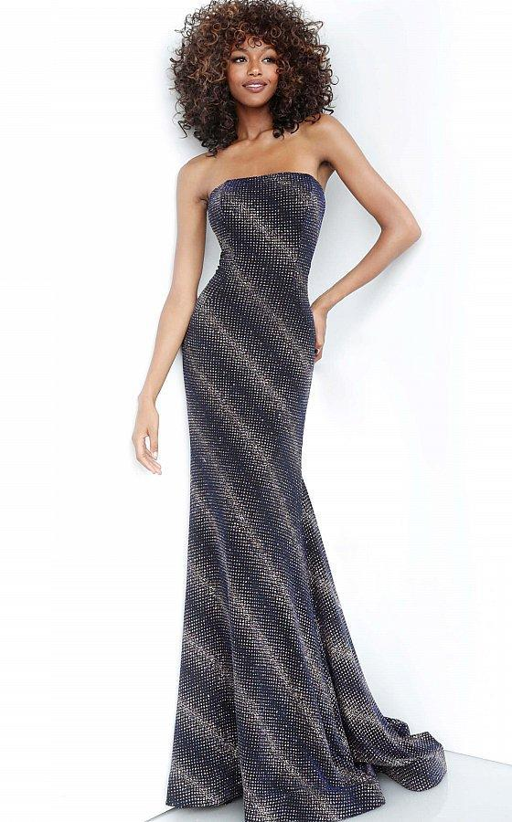 Jovani - 1167 Glitter Stretch Strapless Mermaid Dress In Blue