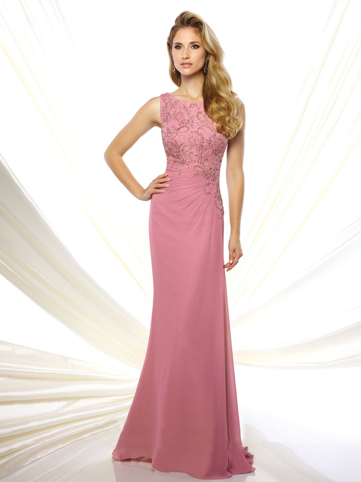Mon Cheri - 116947SC Embroidered Bateau Long Gown