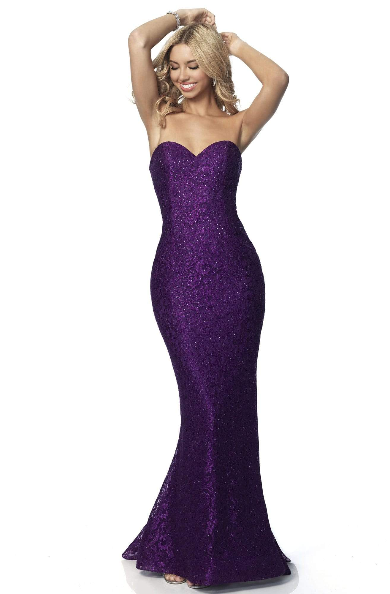 Blush by Alexia Designs - 11874 Strapless Sweetheart Glitter Lace Gown Prom Dresses 0 / Amethyst