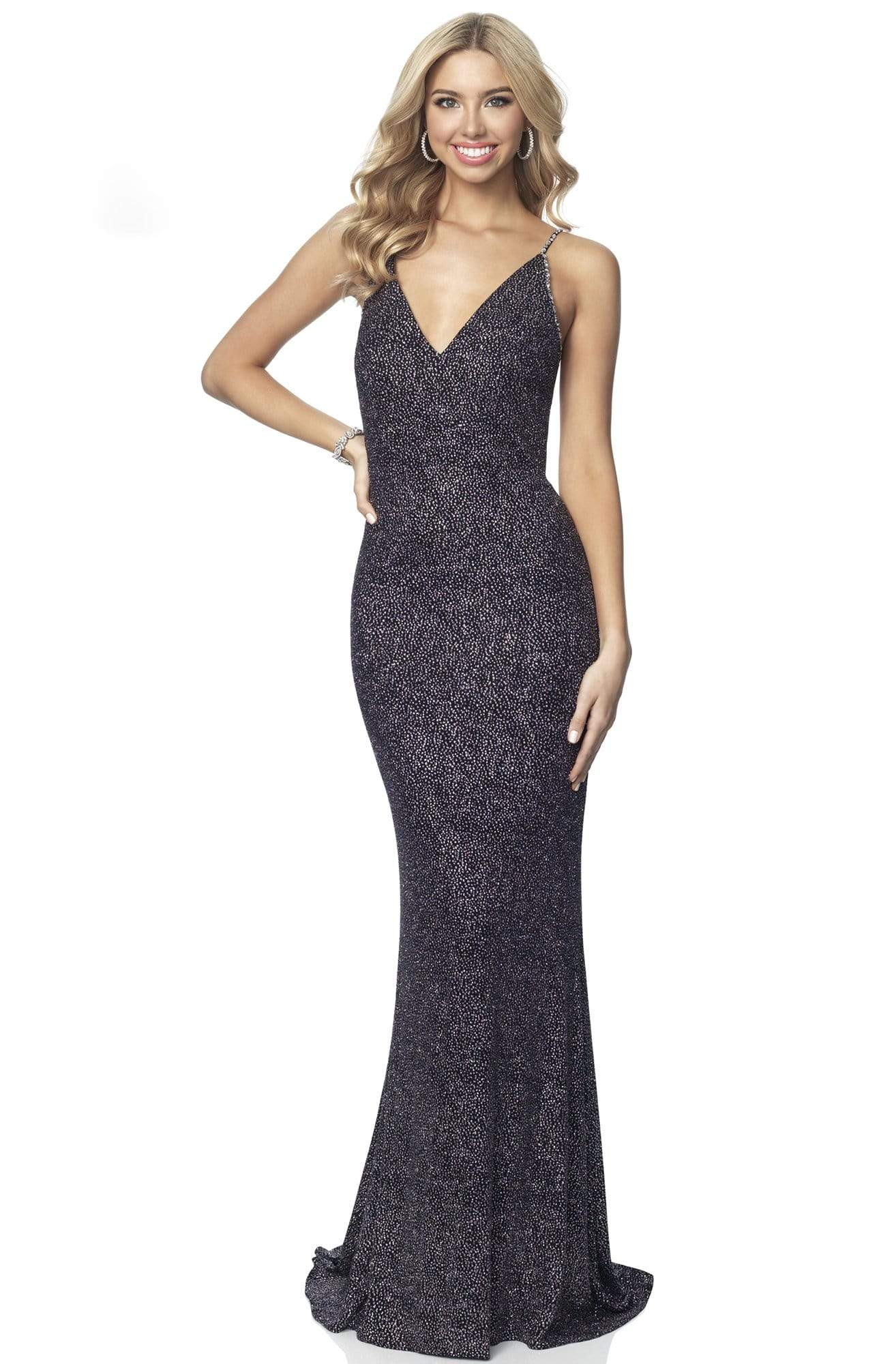 Blush by Alexia Designs - 11889 Sleeveless V Neck Glitter Knit Gown Evening Dresses 0 / Black