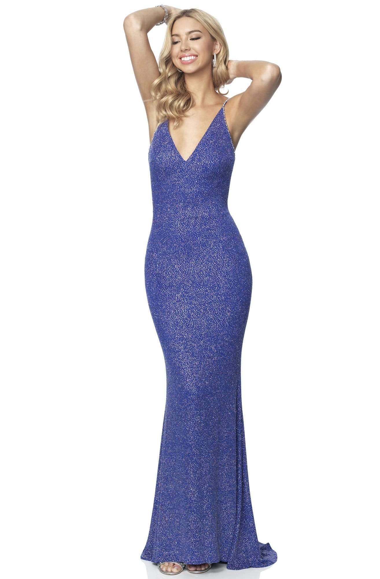 Blush by Alexia Designs - 11889 Sleeveless V Neck Glitter Knit Gown Evening Dresses 0 / Cobalt