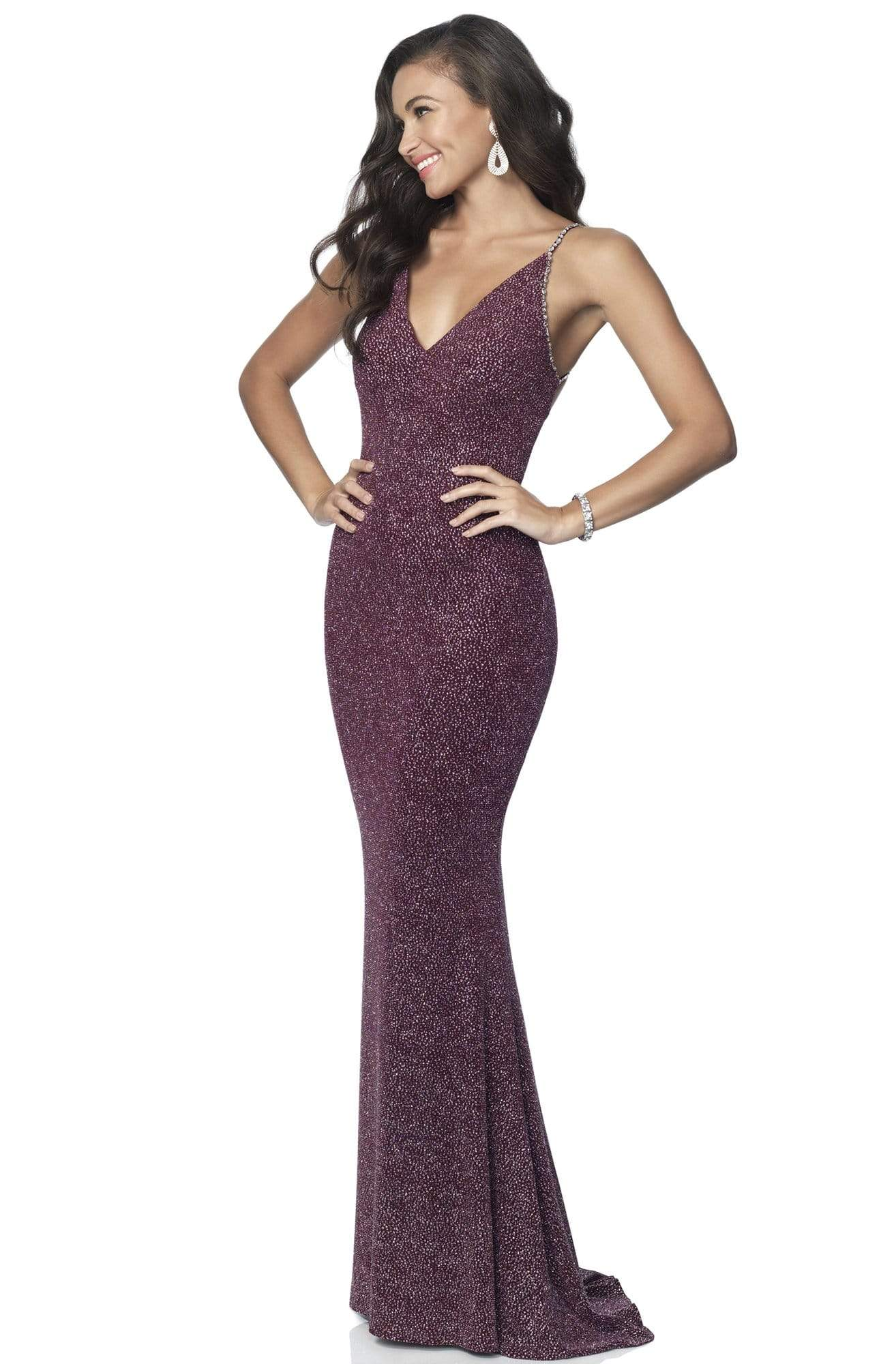 Blush by Alexia Designs - 11889 Sleeveless V Neck Glitter Knit Gown Evening Dresses 0 / Wine