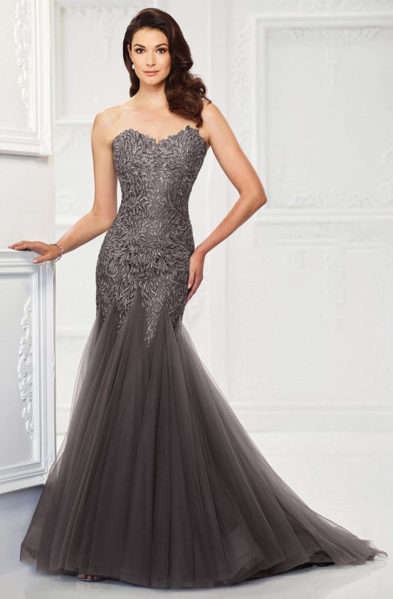 Montage by Mon Cheri - 118964 Strapless Tulle Trumpet Gown In Gray