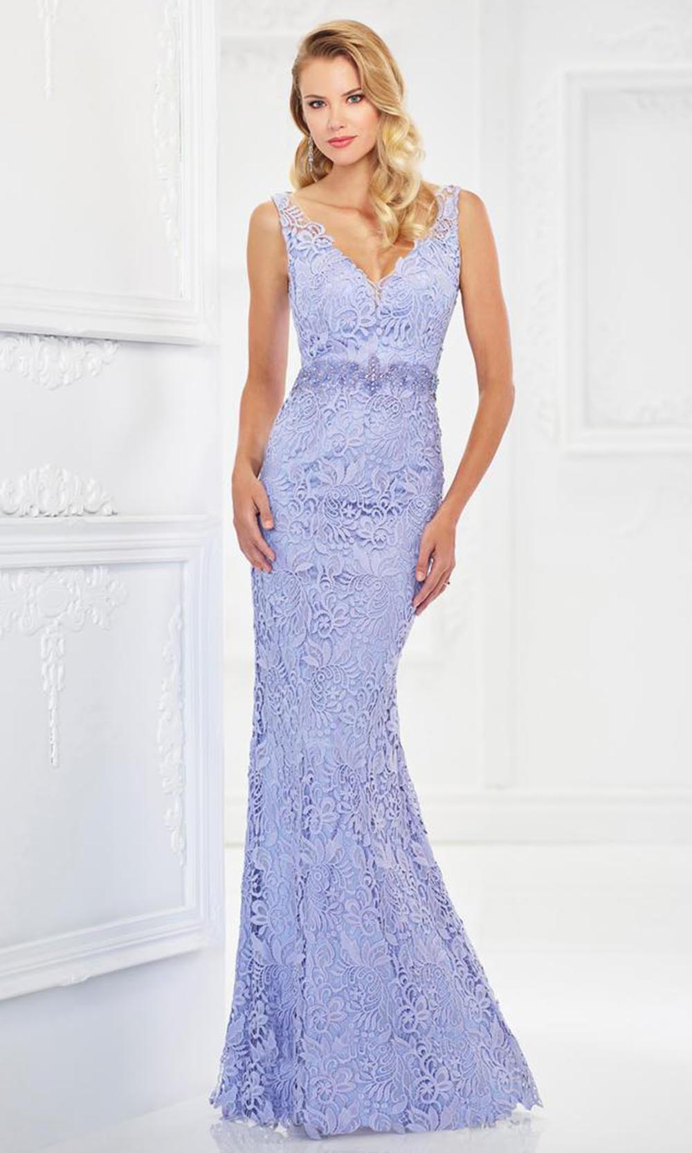 Montage by Mon Cheri - 118968 V-Neck Lace Gown with Detachable Sleeves In Purple