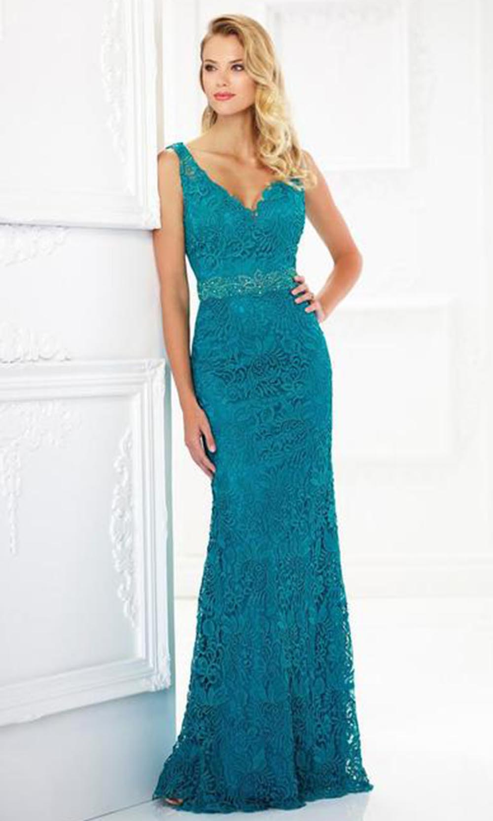 Montage by Mon Cheri - 118968 V-Neck Lace Gown with Detachable Sleeves In Green