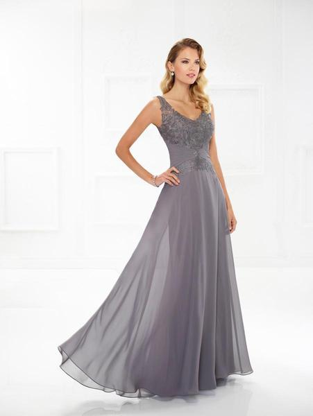 Mon Cheri - Montage by Mon Cheri - Lace Chiffon A-line Dress 118976W In Gray