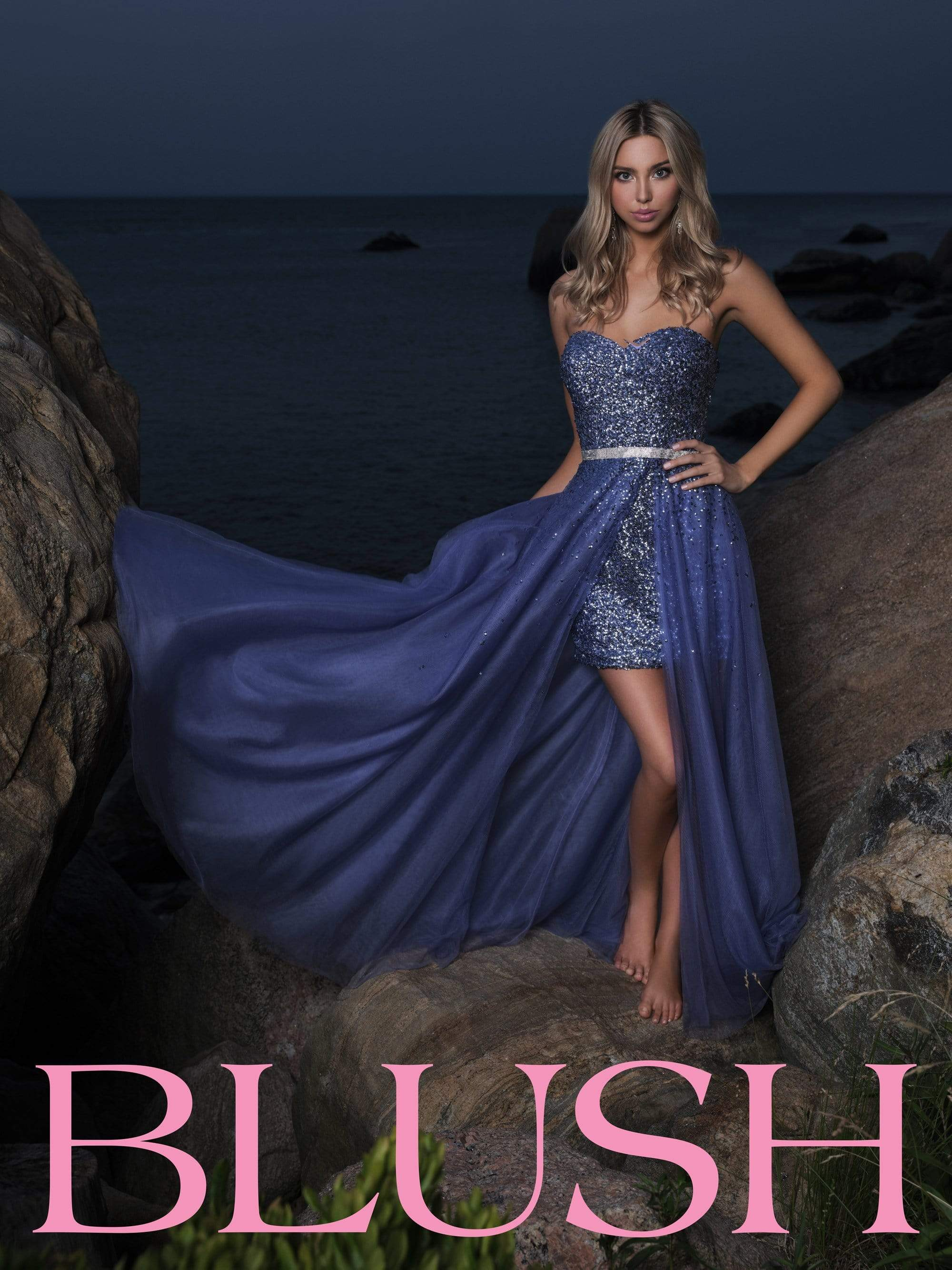 Blush by Alexia Designs - 11897 Strapless Sequin Dress with Overskirt Prom Dresses