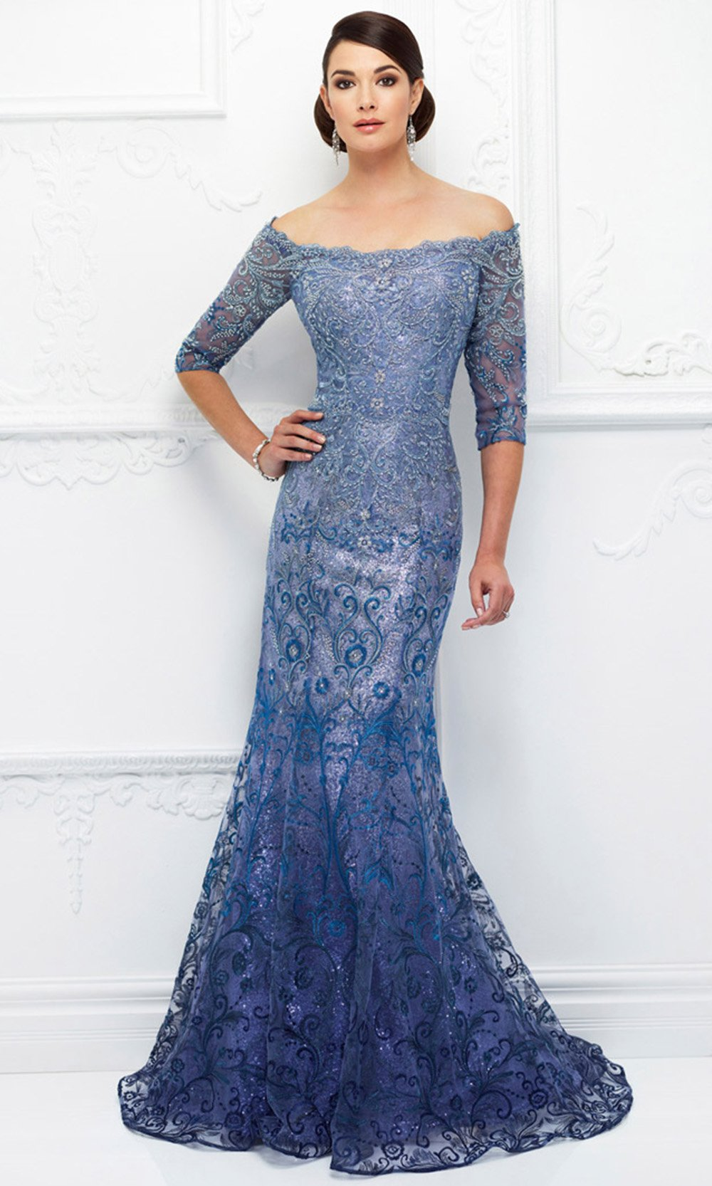 Mon Cheri - Sequined Off Shoulder Evening Gown 118D07 In Blue