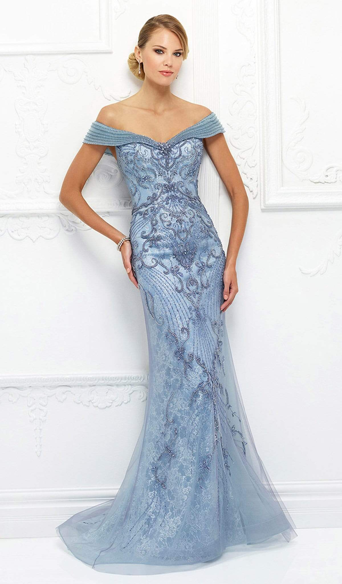 Mon Cheri - Beaded Lace Dress With Tulle Overlay 118D08 In Blue