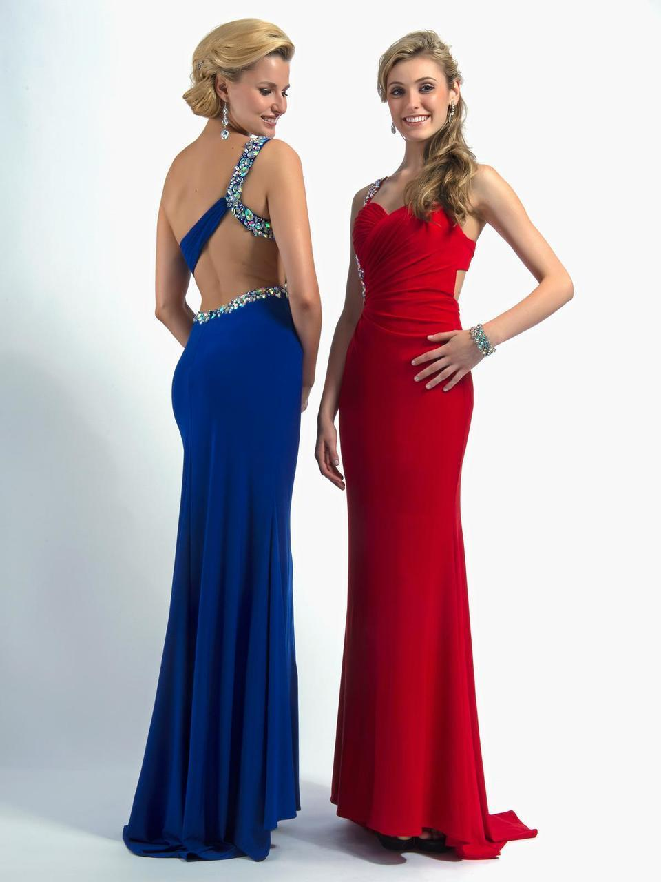 Clarisse - 2364 Bejeweled Sweetheart Dress in Blue and Red