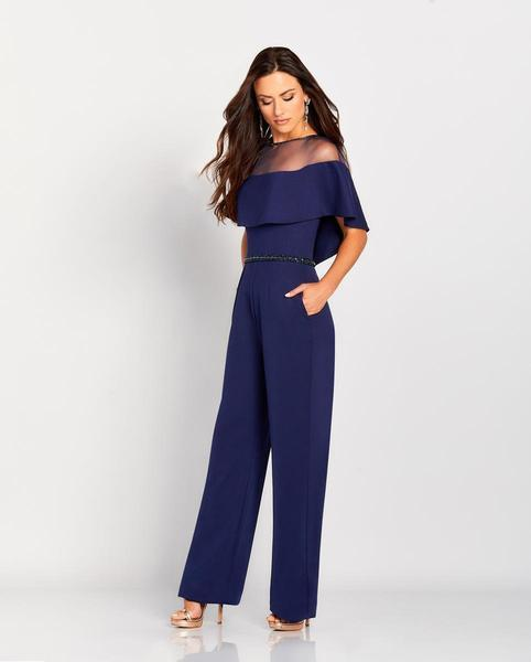 Mon Cheri - Cameron Blake by Mon Cheri - Beaded Illusion Neck Jumpsuit 119665 In Blue