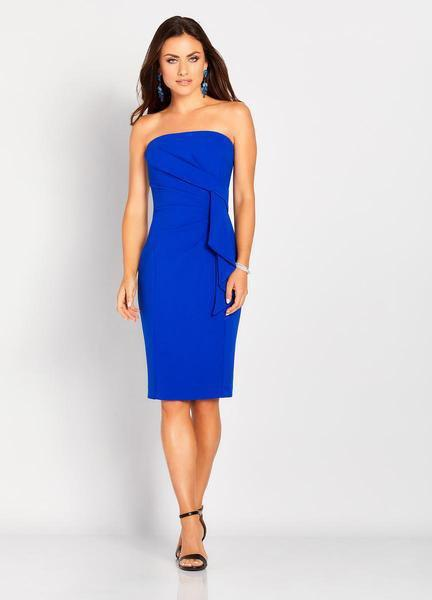 Social Occasions by Mon Cheri - 119830 Pleated Fitted Dress In Blue