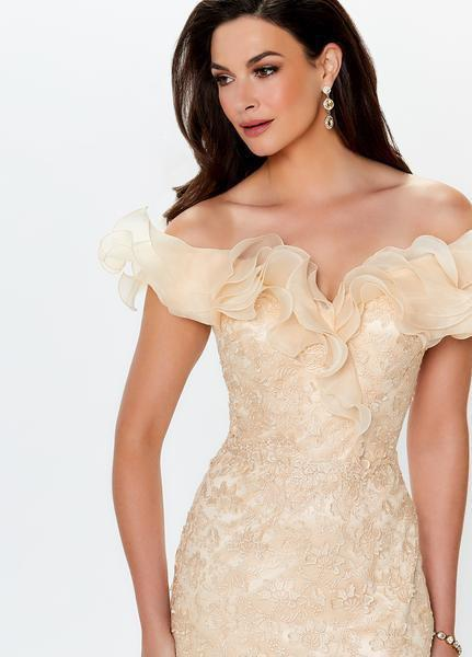Montage, Ivonne D by Mon Cheri - 119931 Ruffled Off-Shoulder Gown In Neutral