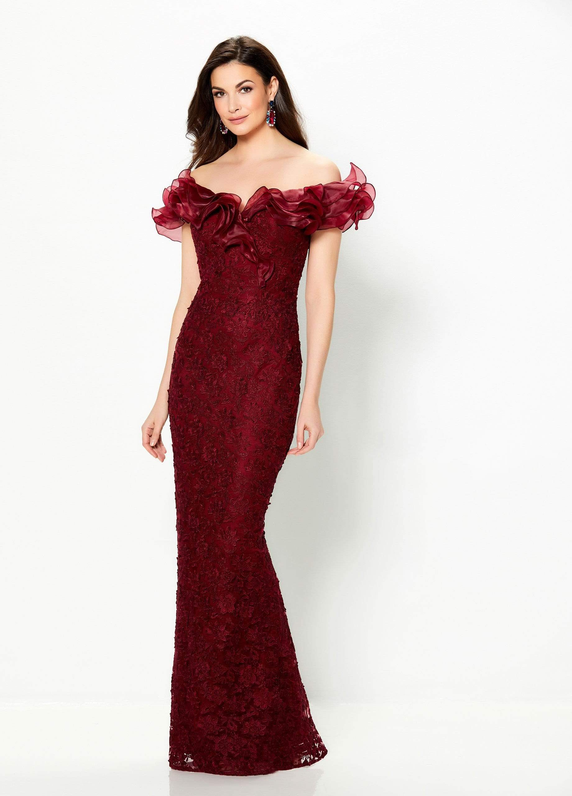Montage by Mon Cheri - 119931SC Ruffled Off-Shoulder Long Gown