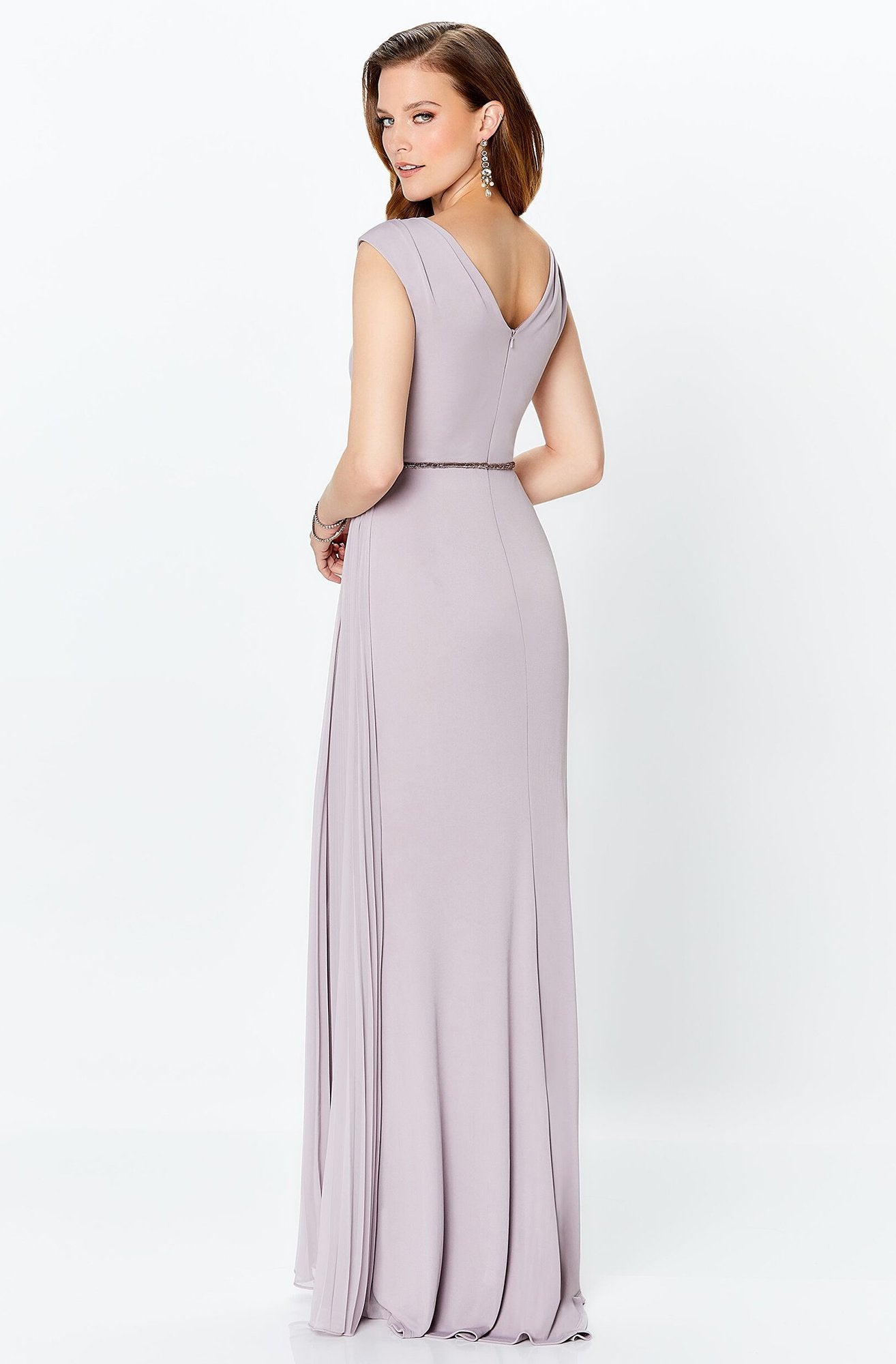 Mon Cheri - V-Neck Pleated A-Line Evening Dress 119934 In Gray