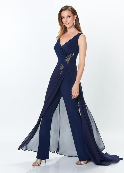 Montage, Ivonne D by Mon Cheri - 119936 Shirr-Front Overskirt Jumpsuit In Blue