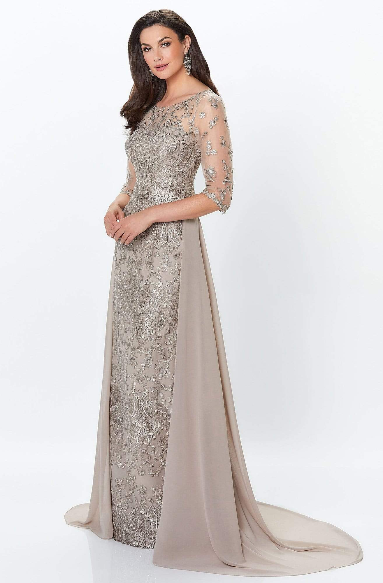 Montage by Mon Cheri - 119940 Lace Embellished Two-Piece Column Gown Special Occasion Dress
