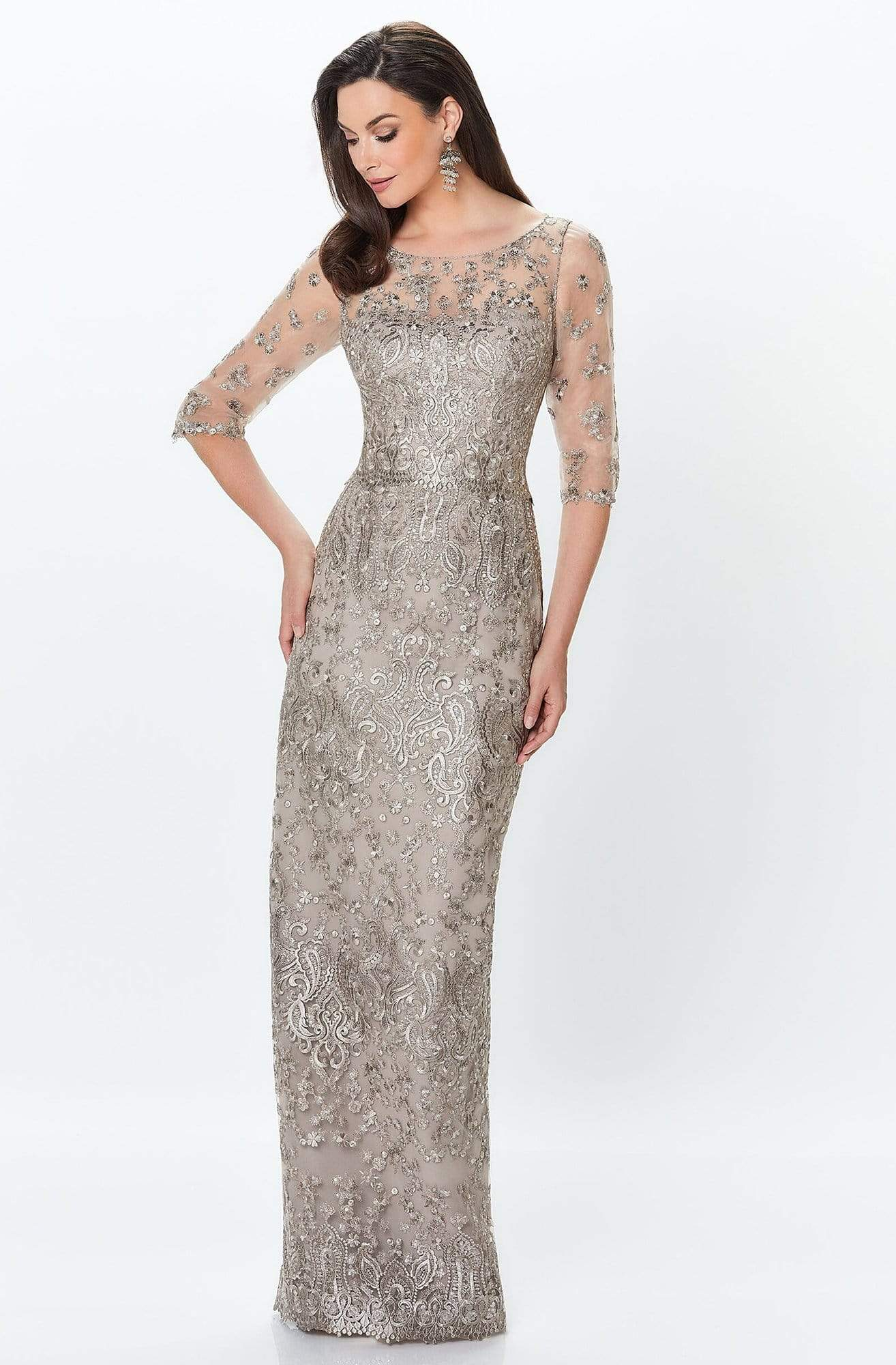 Montage by Mon Cheri - 119940 Lace Embellished Two-Piece Column Gown Special Occasion Dress 0 / Latte