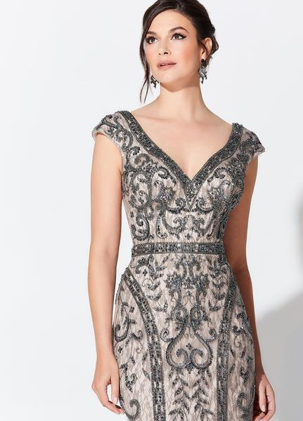 Montage, Ivonne D by Mon Cheri - 119D42 Bead Embellished V-Neck Gown In Gray and Neutral