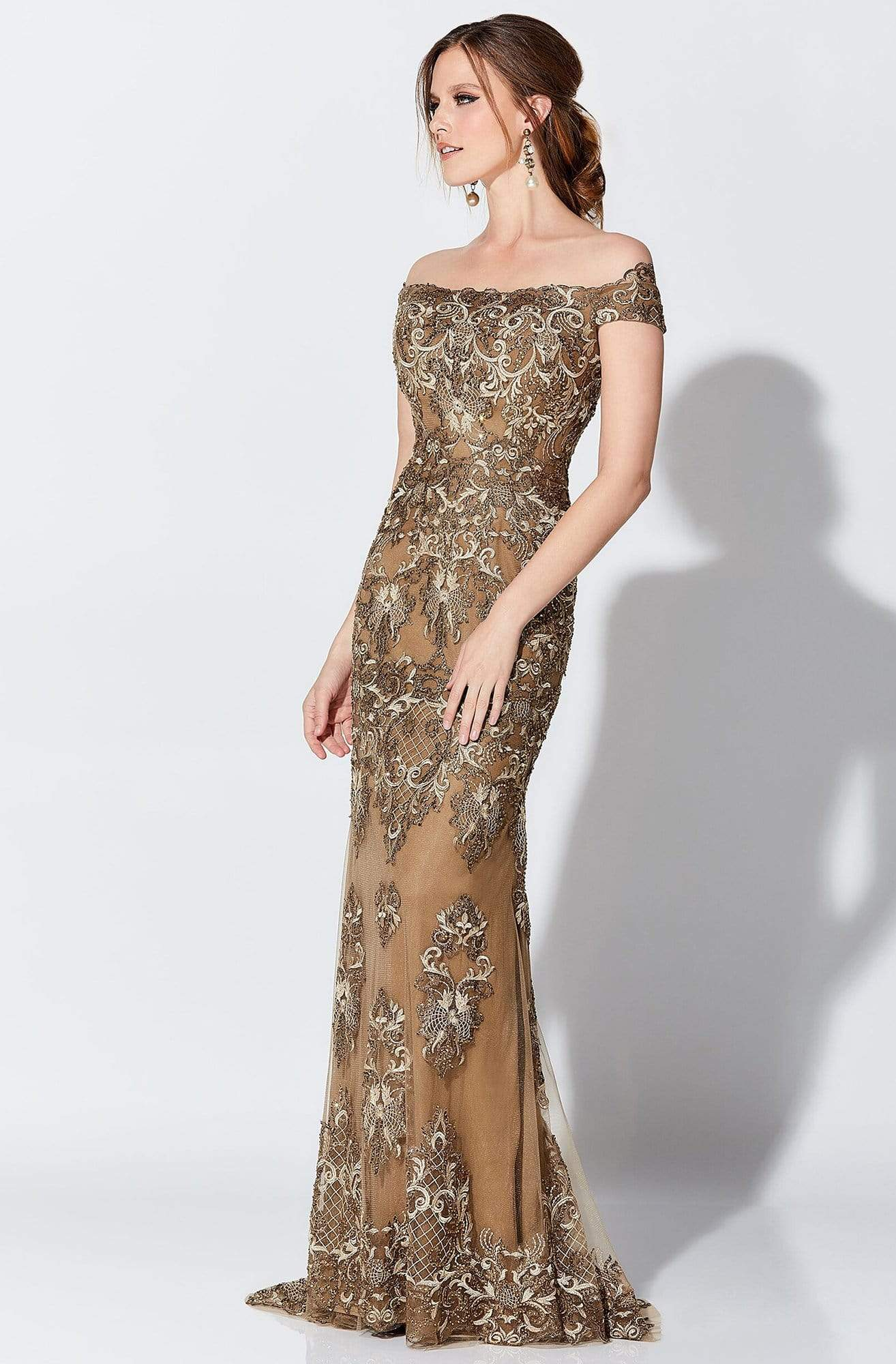 Ivonne D for Mon Cheri - 119D45 Appliqued Off-Shoulder Gown Evening Dresses 0 / Bronze