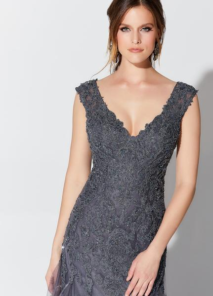 Montage, Ivonne D by Mon Cheri - 119D55 Lace Appliqued Trumpet Gown In Gray