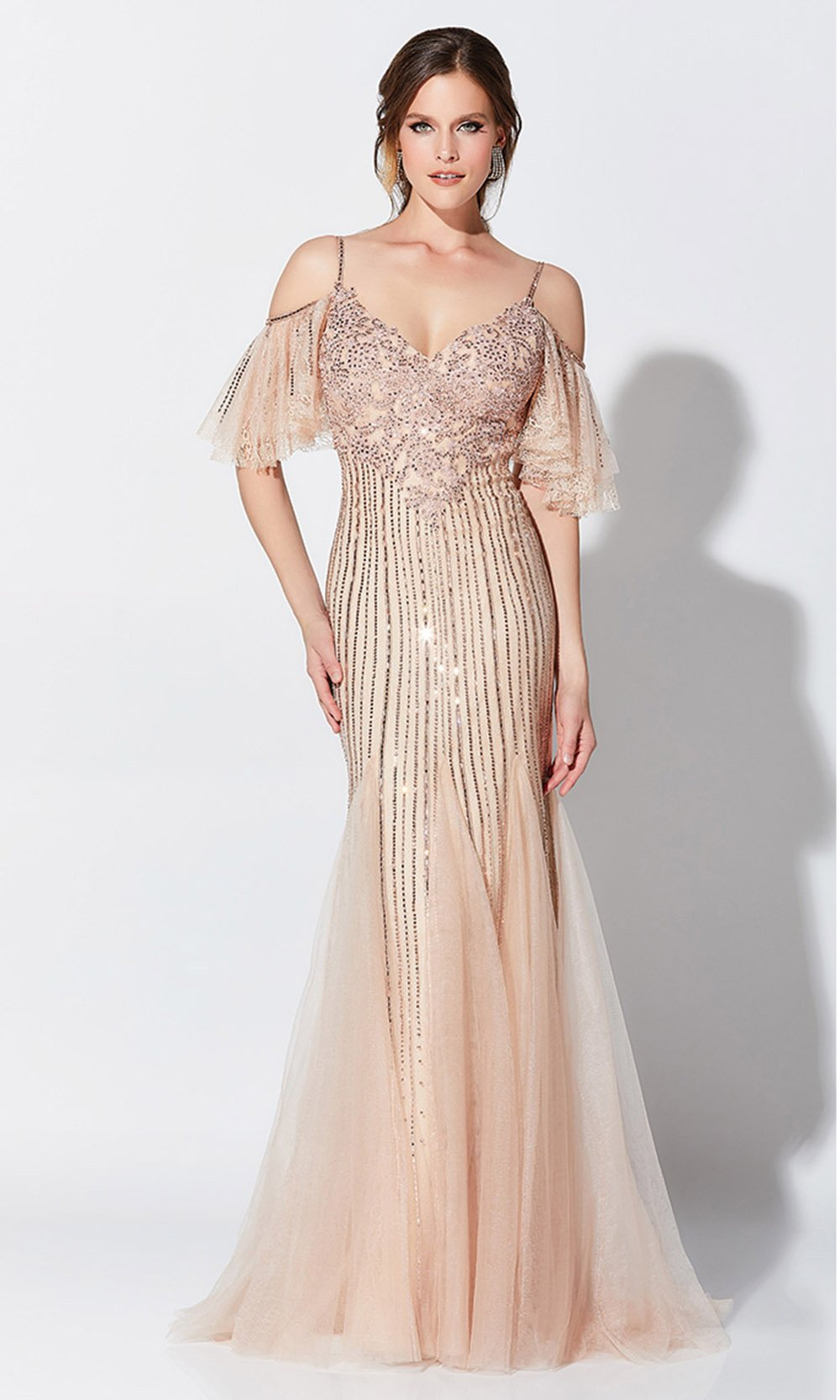 Montage, Ivonne D by Mon Cheri - 119D46 Beaded Cold Shoulder Gown In Pink and Nude