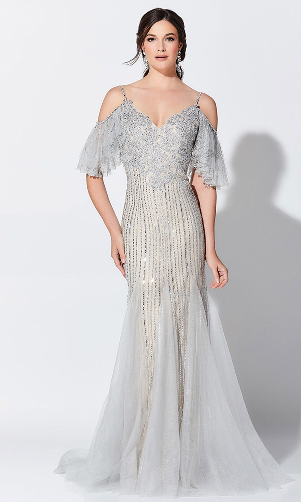 Montage, Ivonne D by Mon Cheri - 119D46 Beaded Cold Shoulder Gown In Silver and Nude
