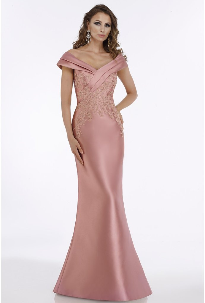 Gia Franco - Tiered Off-Shoulder Lace Appliqued Evening Gown 12005 In Pink