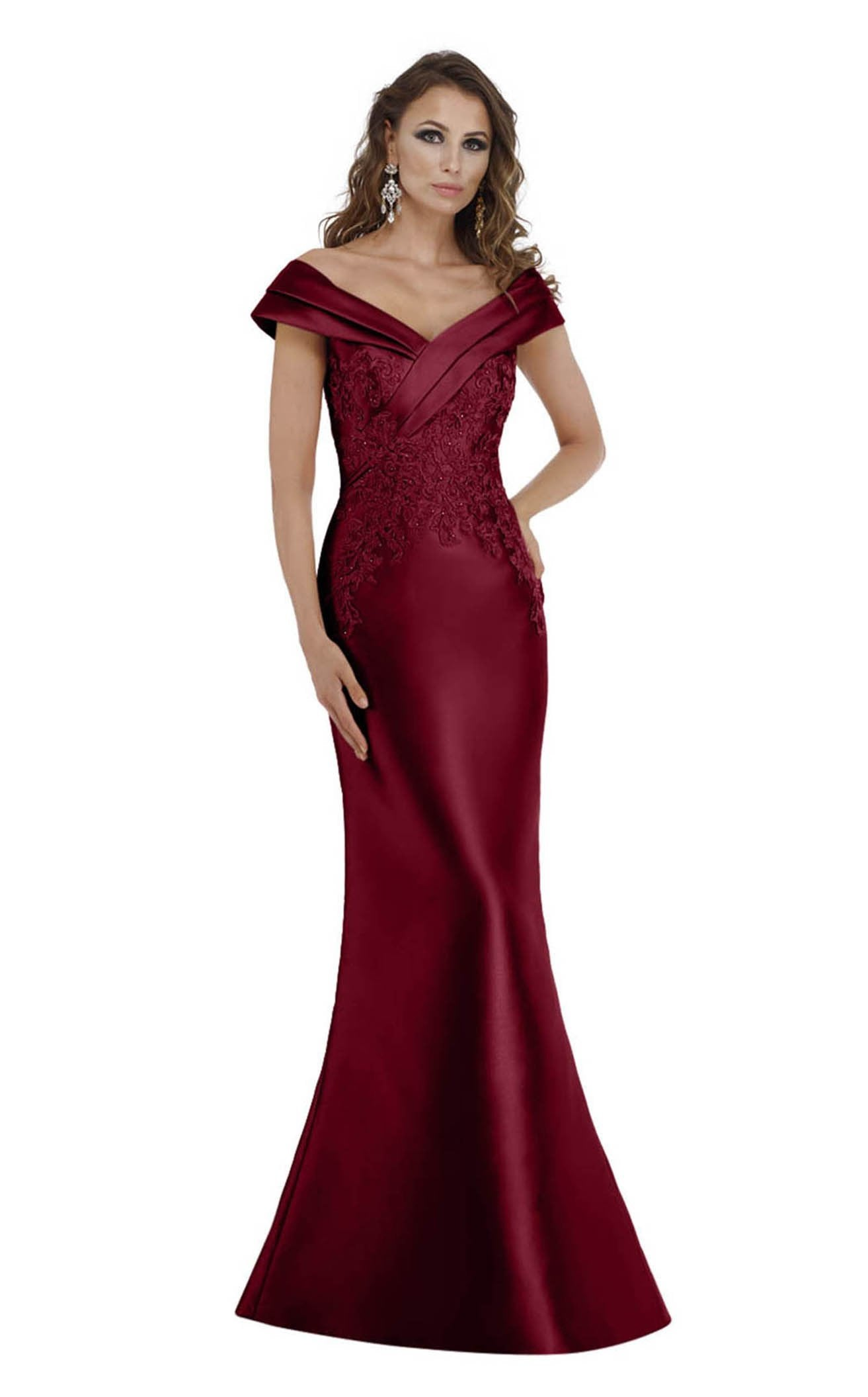 Gia Franco - Tiered Off-Shoulder Lace Appliqued Evening Gown 12005 In Red