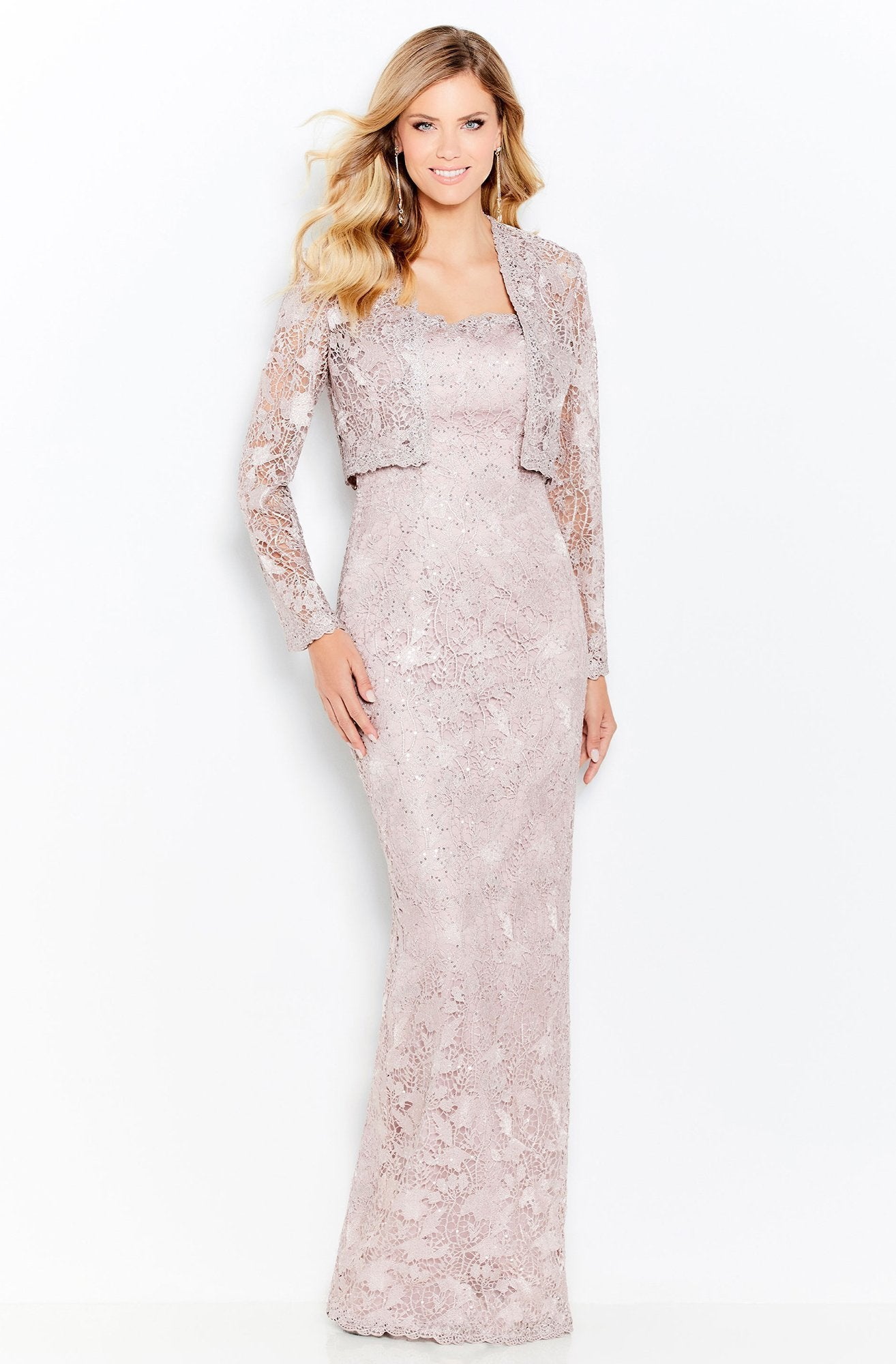 Mon Cheri - Lace Sheath Evening Dress 120602 In Pink