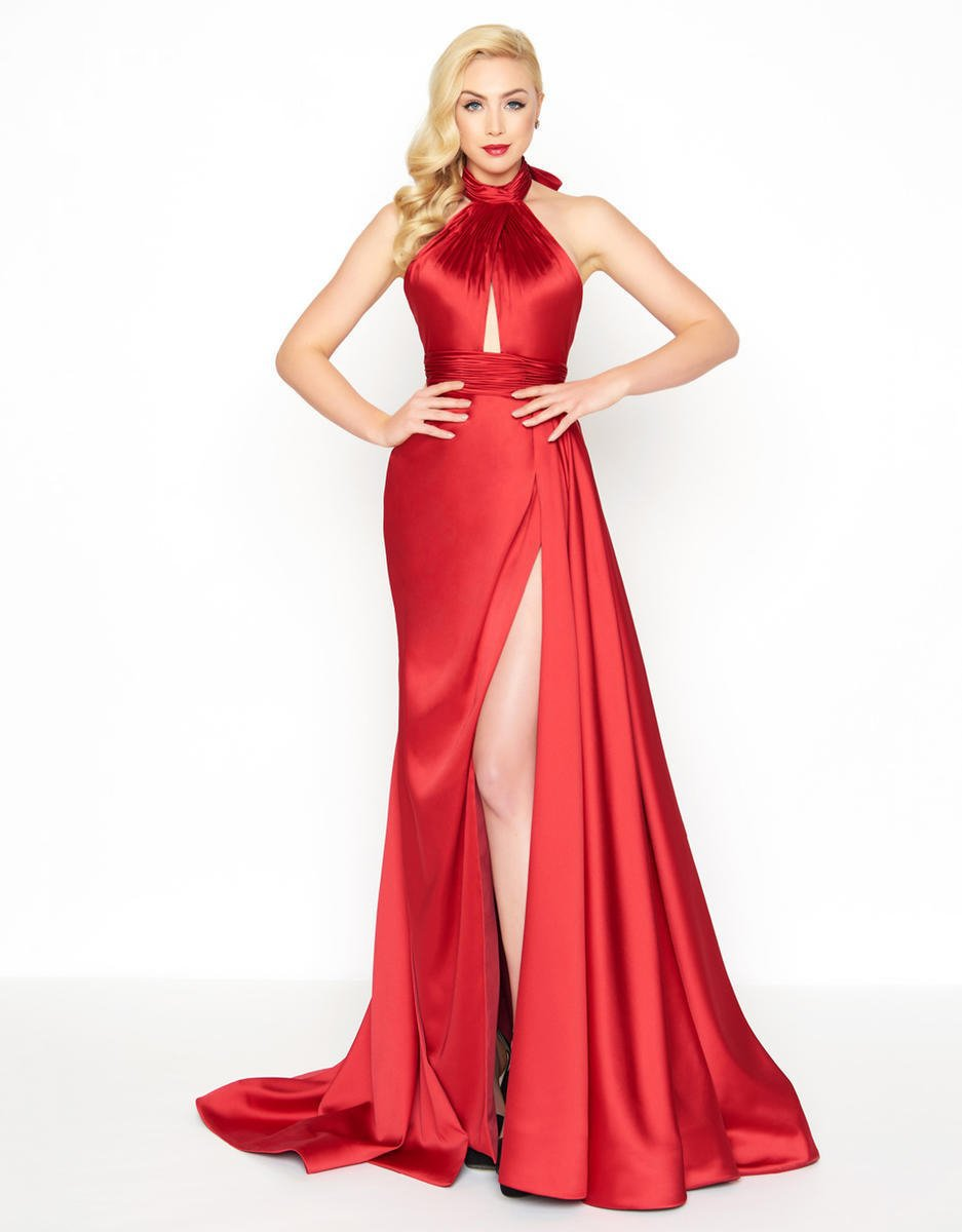 Mac Duggal - 12089R High Halter A-Line Gown with Slit in Red