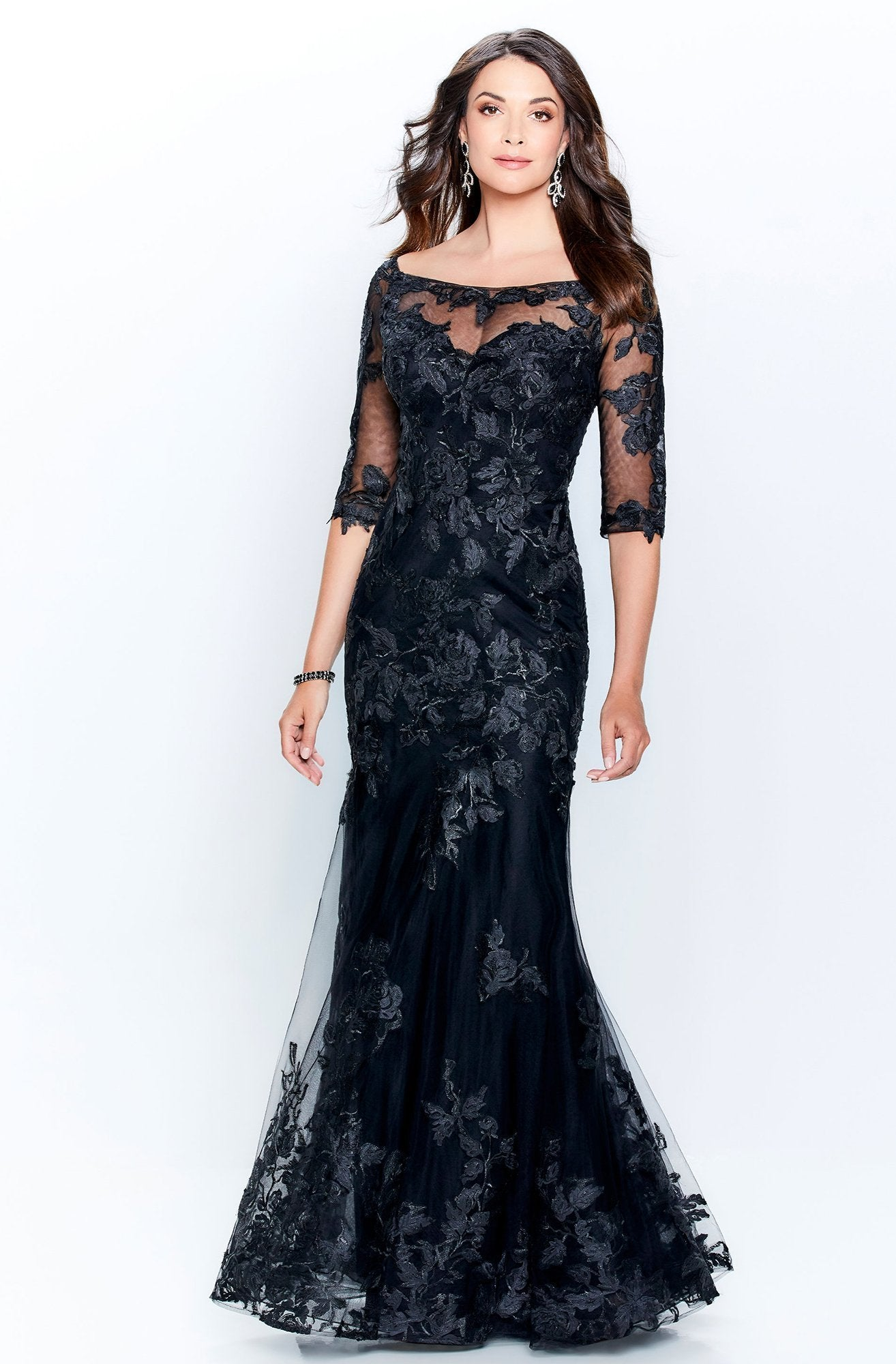 Mon Cheri - Illusion Scoop Lace Embroidered Trumpet Gown 120919 In Black