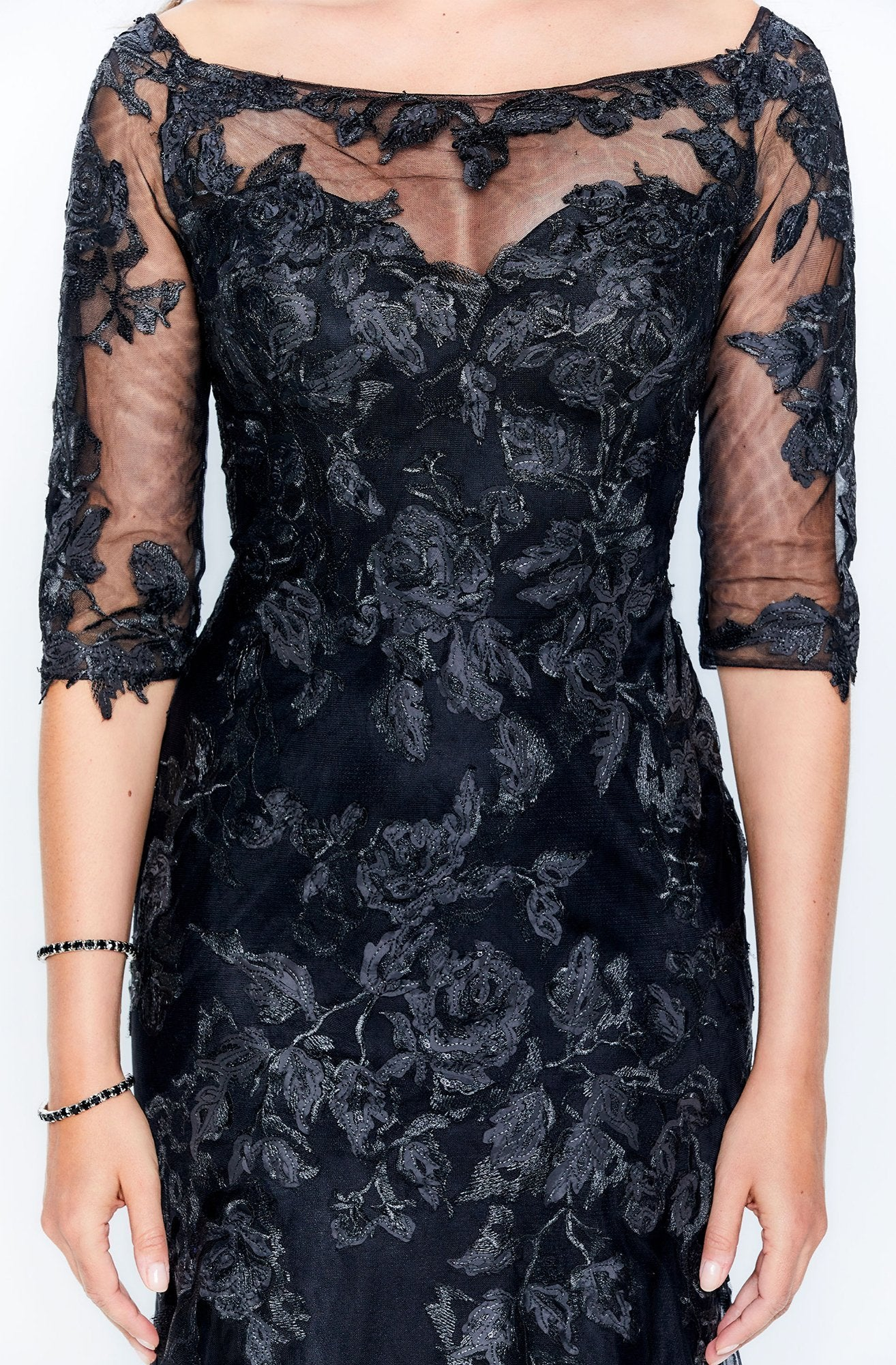 Montage by Mon Cheri - 120919 Lace Embroidered Trumpet Dress In Black