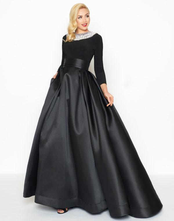 Mac Duggal - 12093R Embellished Long Sleeves Ballgown in Black